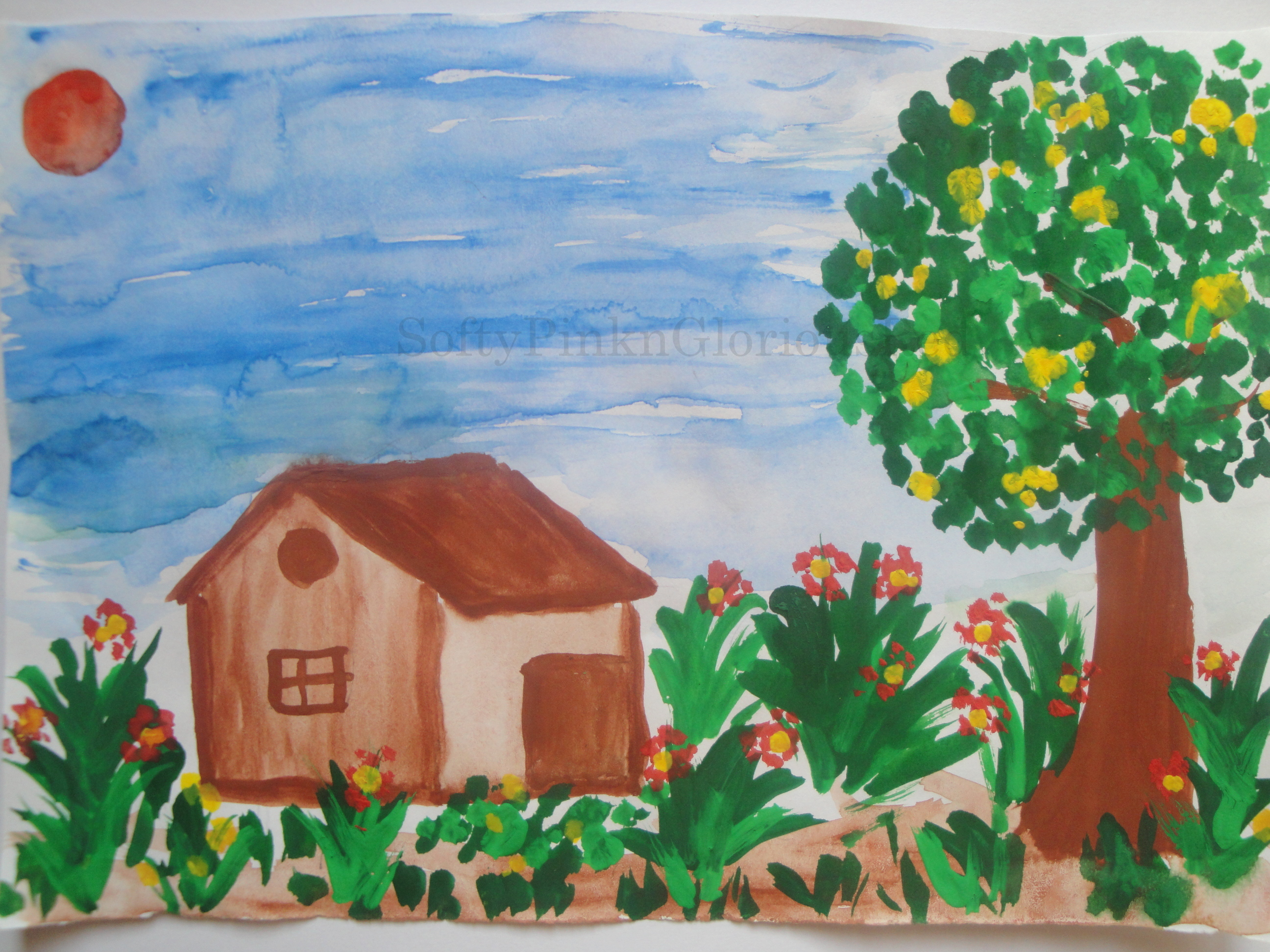 Easy Scenery Paintings For Kids Creativity Softypink N Gloriousred